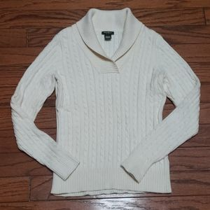 Eddie Bauer ribbed fold over neck sweater LIKE NEW